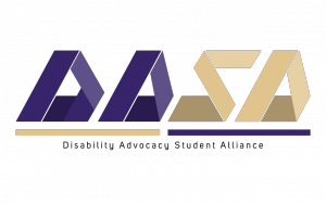 """Logo of """"DASA,"""" with the letters geometrically shaped, """"DA"""" in purple, and """"SA"""" in gold."""